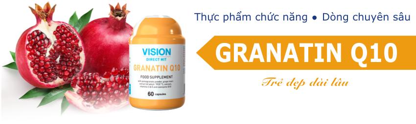 Vision Granatin Q10  Giúp bảo vệ tế bào da, và tăng cường sự trẻ hóa cơ thể.