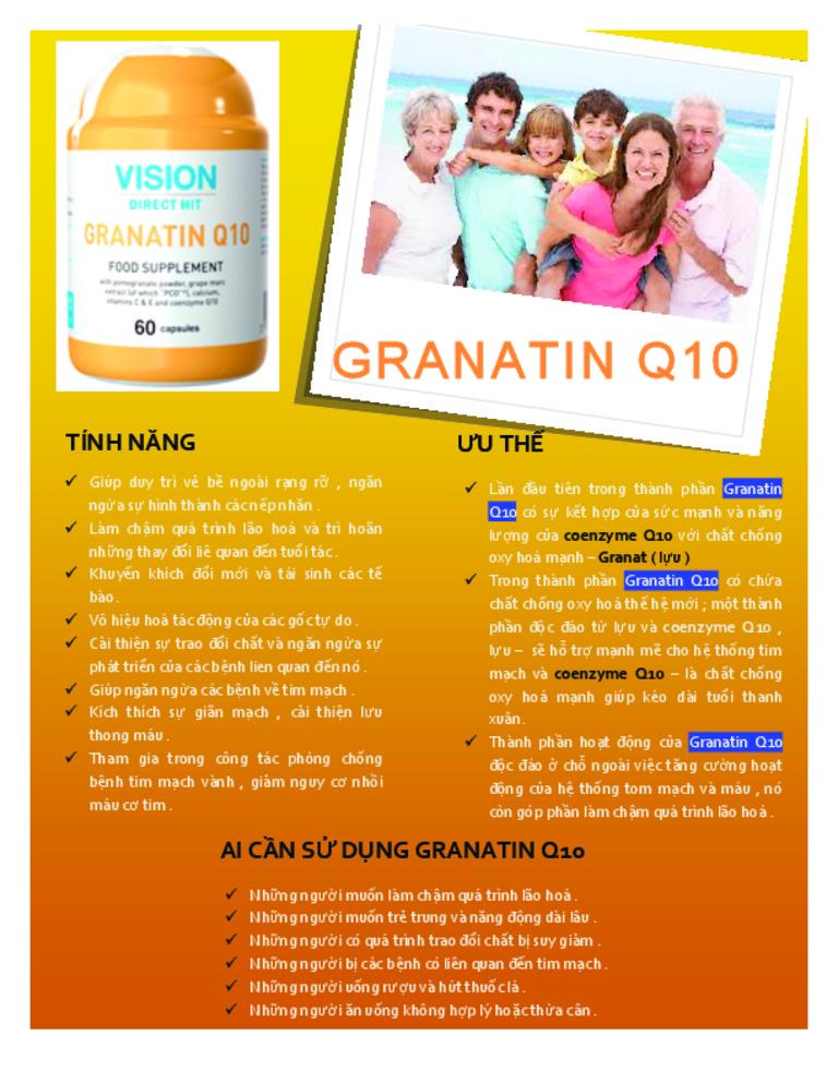 Tác dụng của Thực Phẩm Chức Năng Vision Granatin Q10