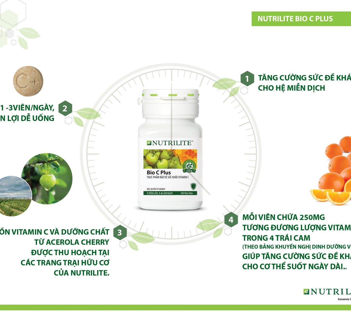 Vitamin C Amway Nutrilite Bio C Plus tăng cường sức đề kháng