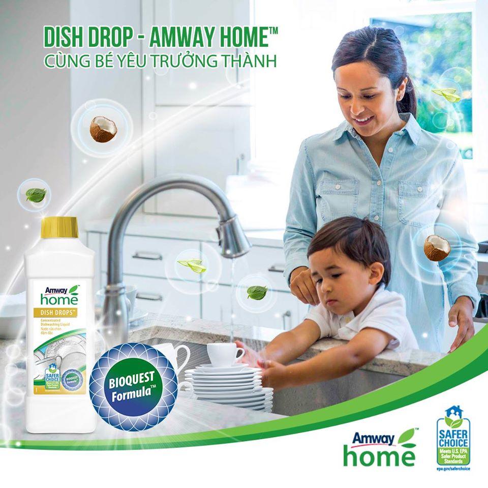 Nước rửa chén Amway Home- DISH DROPS cùng bé yêu trưởng thành