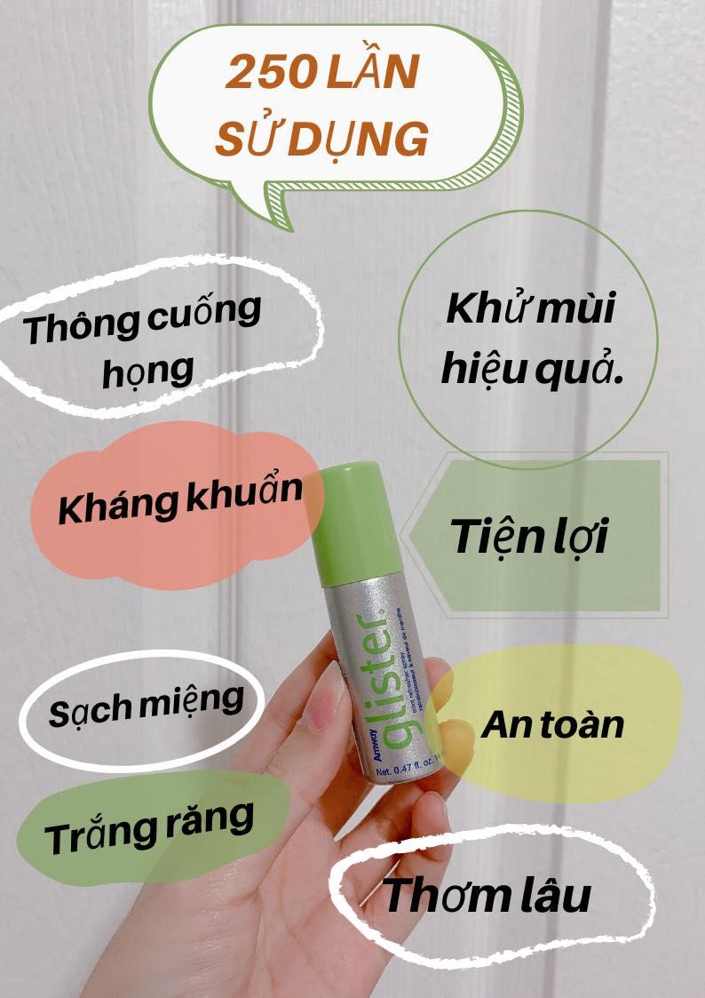 tác dụng của Nước xịt thơm miệng Amway Glister (10g) là khử mùi hiệu quả, kháng khuẩn